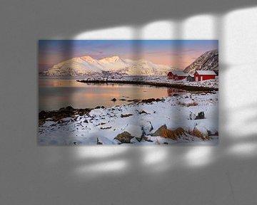 Winter mit roten Häusern in Norwegen von Adelheid Smitt