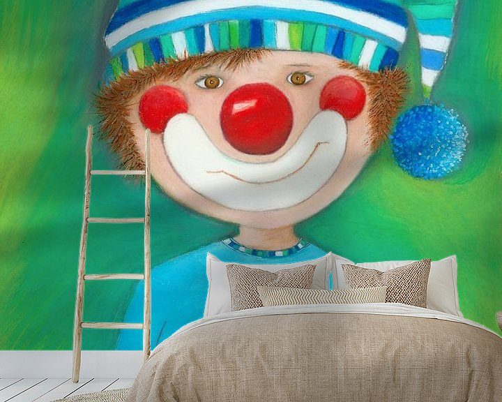 Sfeerimpressie behang: CLOWN JONG - Kunst voor Kinderen van Atelier BuntePunkt