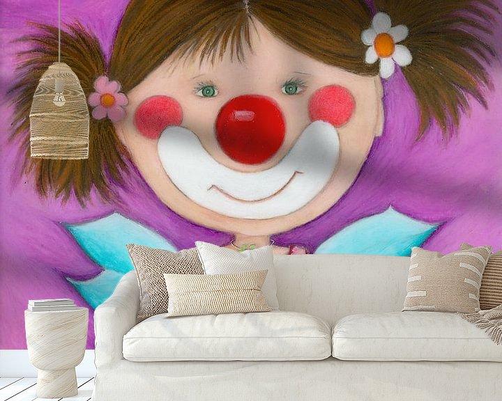 Sfeerimpressie behang: CLOWN MEISJE - Kunst voor Kinderen van Atelier BuntePunkt