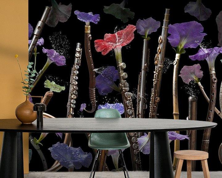 Sfeerimpressie behang: Fluta petunia van Olaf Bruhn