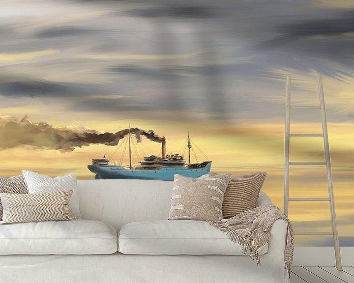 Impression: Steamship Freighter se dirigeant vers l'océan sur Jan Brons