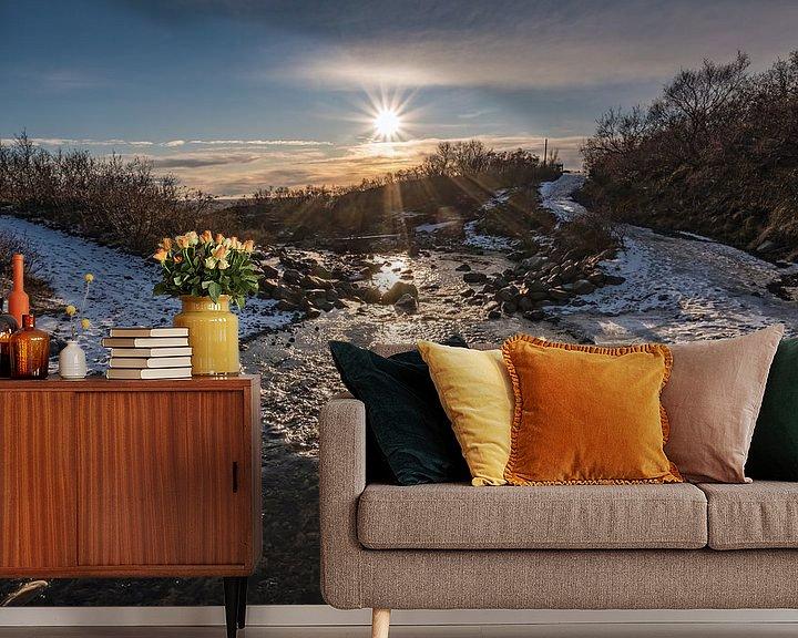 Sfeerimpressie behang: De zon schijnt in Skaftafell nationaal park van Mirjam Boerhoop - Oudenaarden