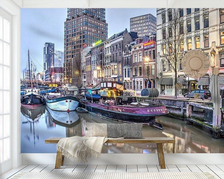 Sfeerimpressie behang: Wijnhaven, 's ochtends vroeg van Frans Blok