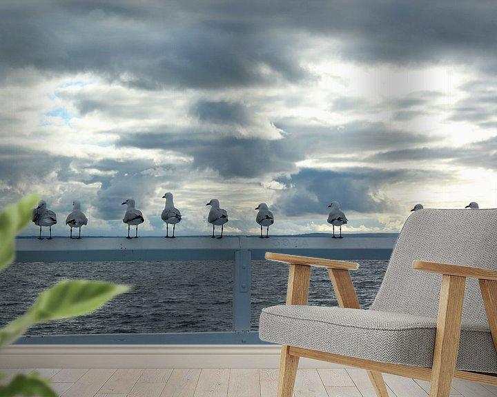 Sfeerimpressie behang: Meeuwen met prachtige lucht van Ingrid Meuleman
