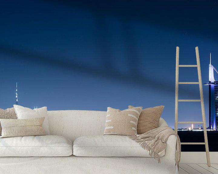 Sfeerimpressie behang: Dubai Skyline II van Dennis Wierenga