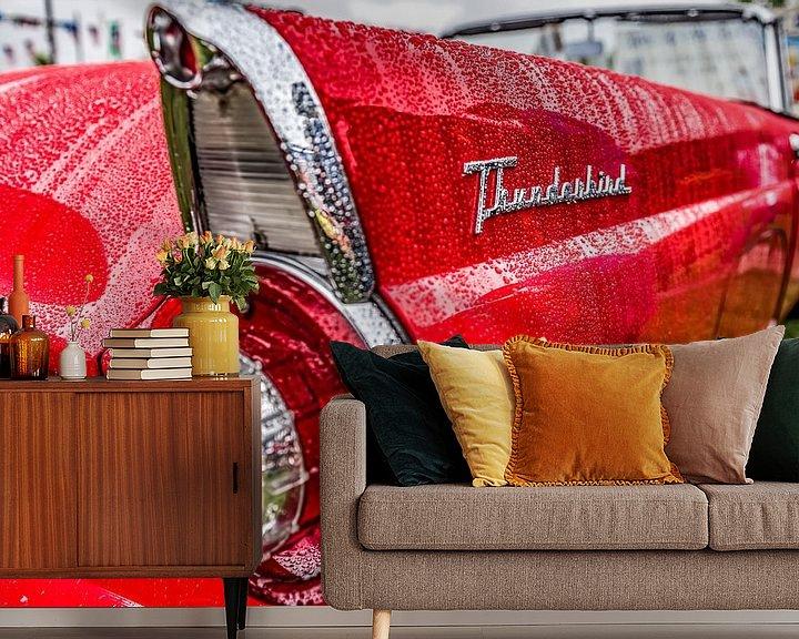 Beispiel fototapete: Ford Thunderbird Flügel nach Regen von autofotografie nederland