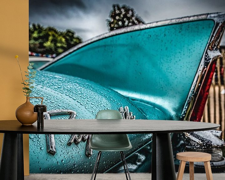Beispiel fototapete: Plymouth Flügel nach Regen 50er Jahren mintgrün von autofotografie nederland