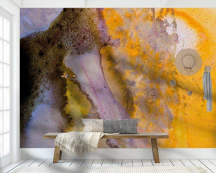 Sfeerimpressie behang: Macrofoto oranje en wit met acrylverf van angelique van Riet