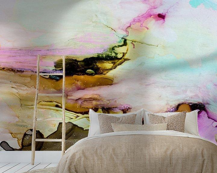 Sfeerimpressie behang: Macrofotografie turquoise roze bruin van angelique van Riet