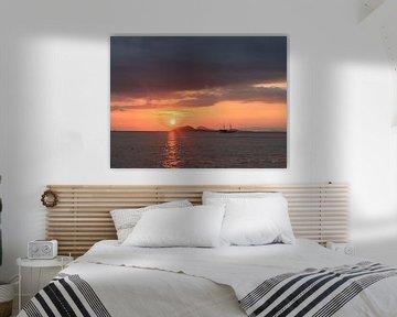 Sunset with boat van Christine Volpert