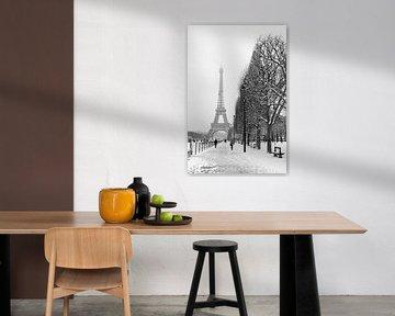 Besneeuwd winterlandschap bij de Eiffeltoren in Parijs von Michaelangelo Pix