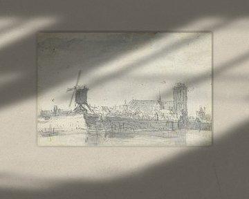 Gezicht op Dordrecht vanaf het water, Jan van Goyen (mogelijk), 1647