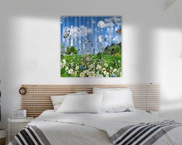 Bloemen veld in het voorjaar, vlinders en zebra's van Herman van Belkom