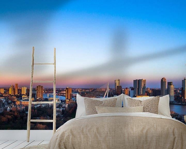 Sfeerimpressie behang: Rotterdam gezien vanaf de Euromast van Dennis Dieleman