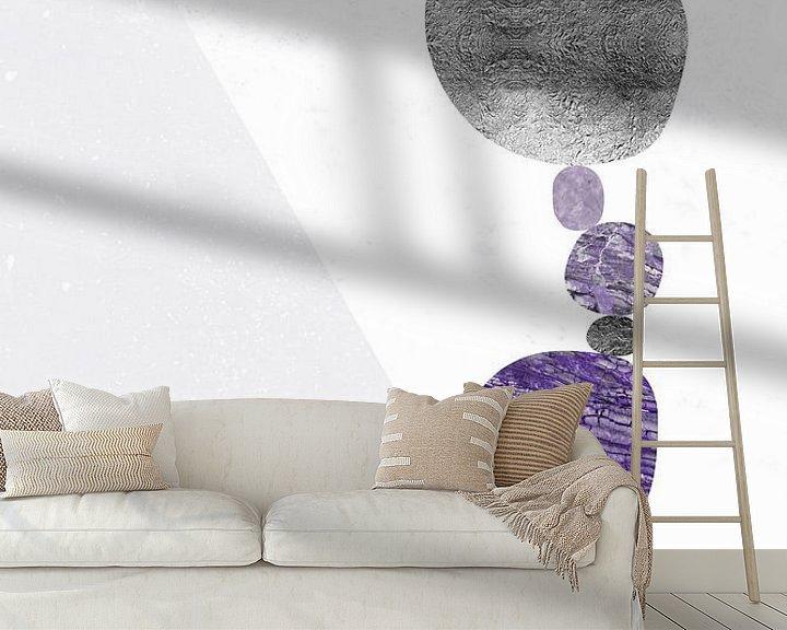 Sfeerimpressie behang: Grafische Kunst ONTSPANNEN - het VINDEN van UW BALANS   ultraviolet van Melanie Viola