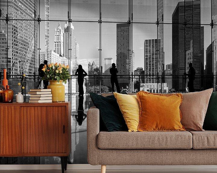 Sfeerimpressie behang: New York Winter Garden Atrium Zwart-Wit van JPWFoto