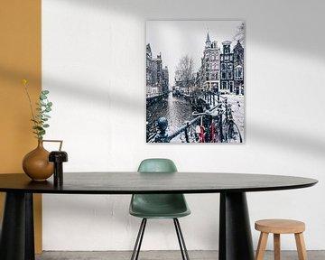 Snow in Amsterdam  van Een Wasbeer
