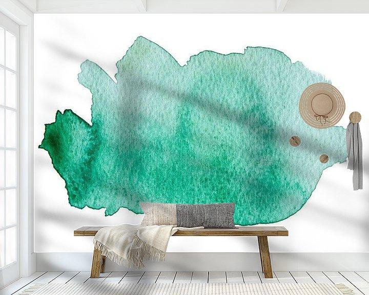Sfeerimpressie behang: Turquoise van WatercolorWall