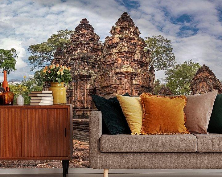Sfeerimpressie behang: Banteay Srey tempel, Cambodja van Rietje Bulthuis
