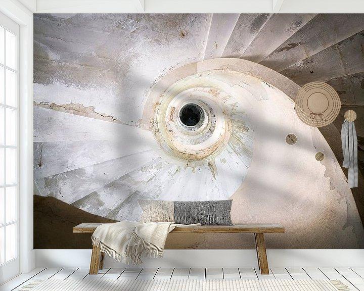 Sfeerimpressie behang: Verlaten Trap in Verval. van Roman Robroek