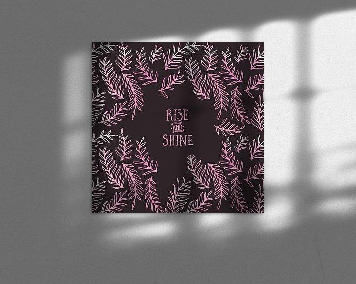 Sfeerimpressie: Grafische Kunst RISE & SHINE   roze  van Melanie Viola