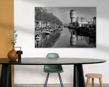 Watertoren aan het Heuveloord in Utrecht (liggend, zwartwit) van De Utrechtse Grachten