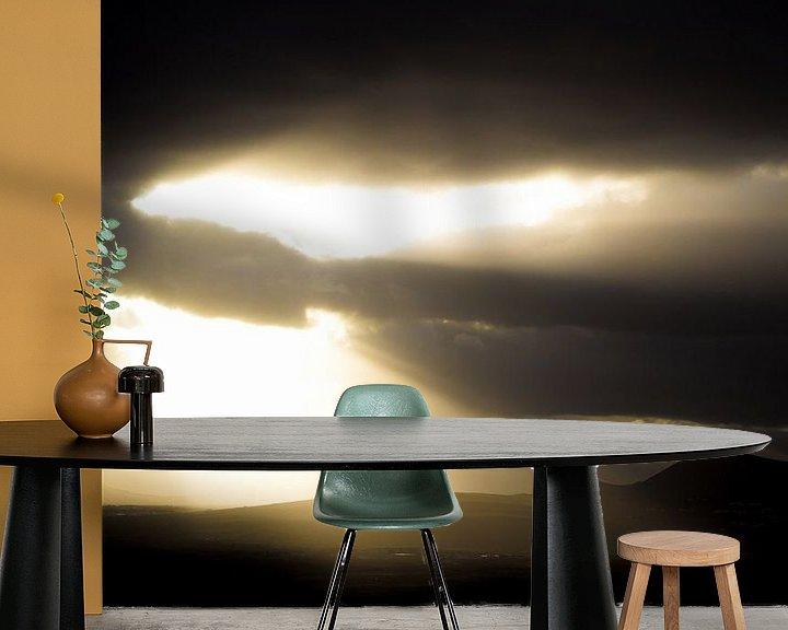 Sfeerimpressie behang: Zonsondergang Lanzarote van Tomas Grootveld
