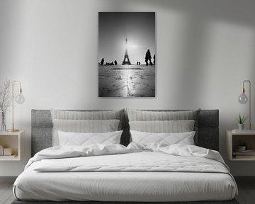 Zwart wit Eiffeltoren van Bas Glaap