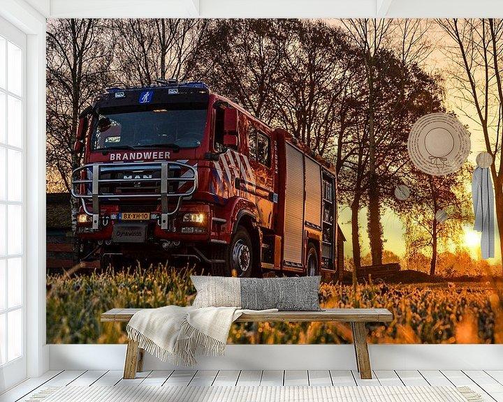 Beispiel fototapete: Firetruck at sunrise von Jaimy Buunk