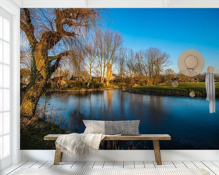 Sfeerimpressie behang: Gezicht over Donryp Friesland van Brian Morgan