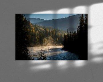 Ochtenddauw over Fraser River van Fotografie door Menno