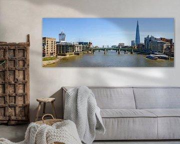 London, Thames with Southwark Bridge van Leopold Brix