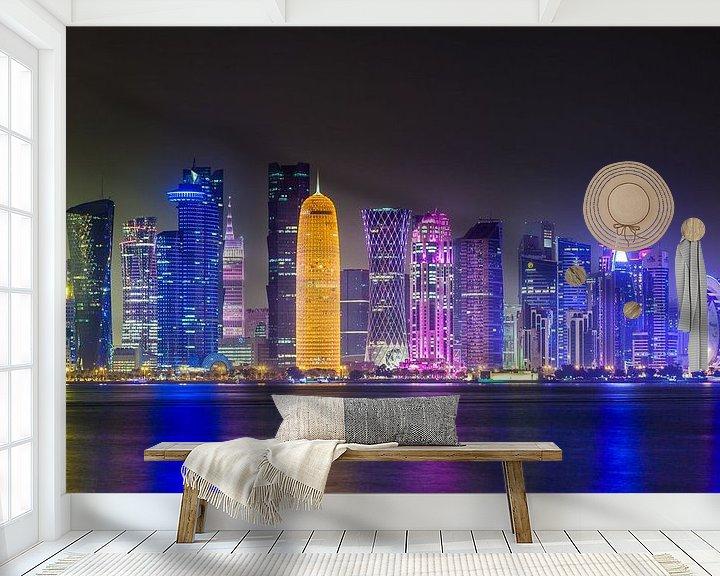 Sfeerimpressie behang: Skyline of Doha, Qatar van Jan Schuler