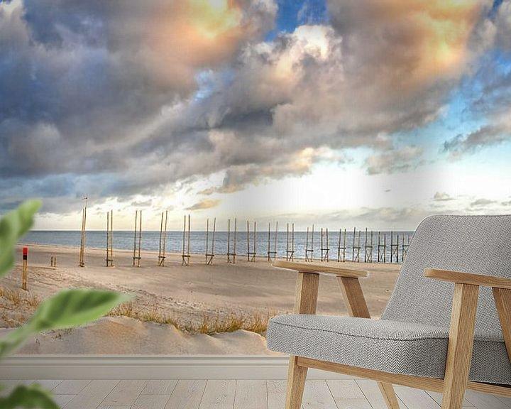 Sfeerimpressie behang: Panorama foto van het Texelse strand / Panoramic photo Texel beach van Justin Sinner Pictures ( Fotograaf op Texel)