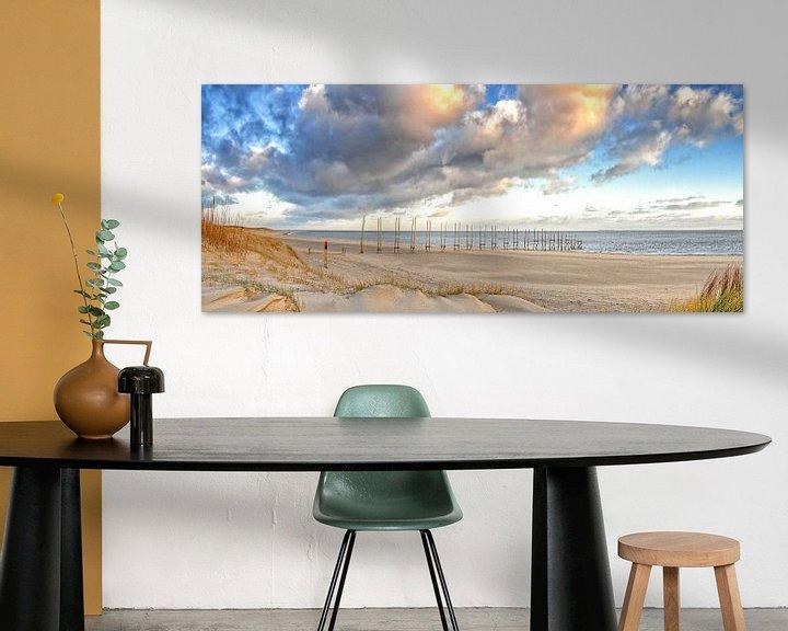 Sfeerimpressie: Panorama foto van het Texelse strand / Panoramic photo Texel beach van Justin Sinner Pictures ( Fotograaf op Texel)