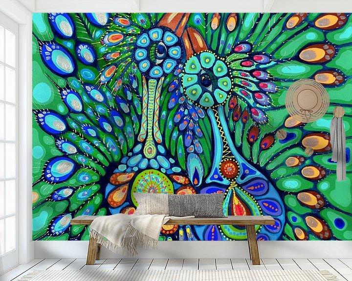 Sfeerimpressie behang: Pauwen van Annet Raben