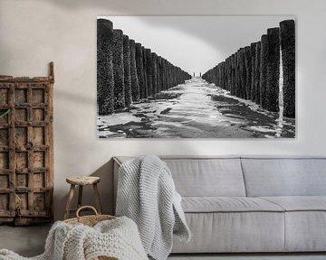 Paalhoofden richting zee von Jacqueline Sinke