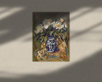 Pioenrozen in Delfts blauwe vaas op quilt van Nop Briex
