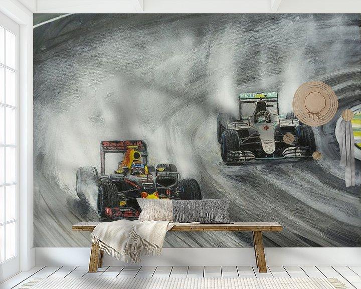 Sfeerimpressie behang: Max Verstappen Brazilie 2016 van Paul Smit