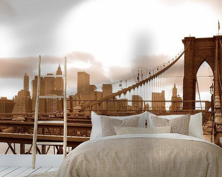 Impression: Brooklyn Bridge Sepia Panorama sur Paul van Baardwijk