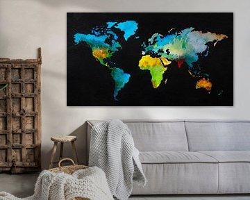 Wereldkaart in aquarel en Zwarte inkt