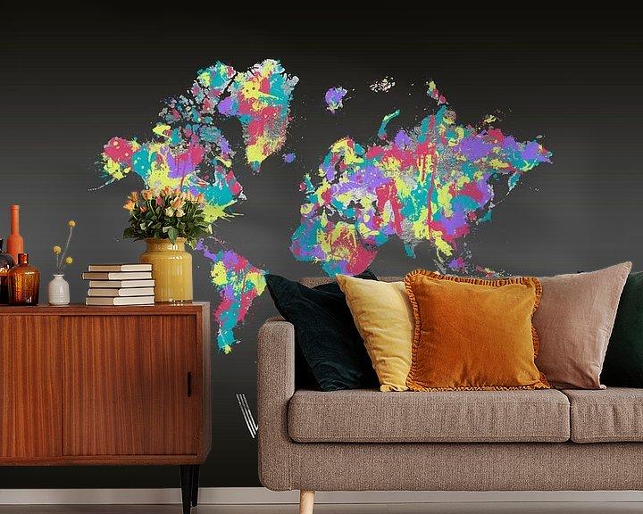 Sfeerimpressie behang: Grafikkunst CRAZY WANDERLUST | Farbspritzer van Melanie Viola