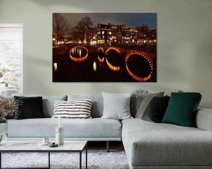 Sfeerimpressie: Amsterdam bij nacht van John Leeninga