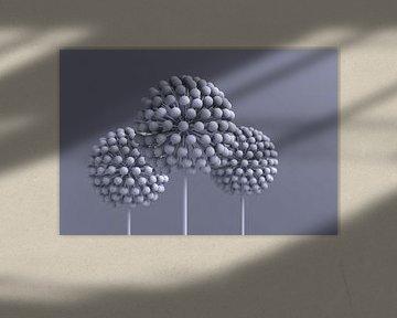 Abstrakte Blumen graublau von Jörg Hausmann
