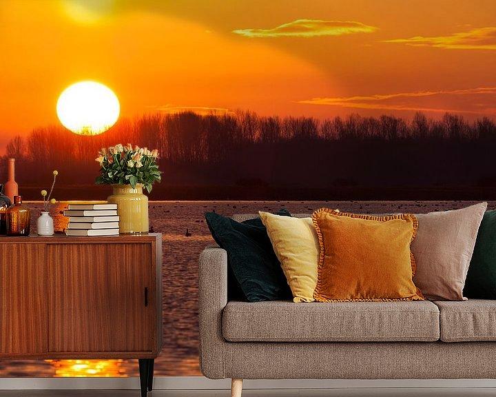 Beispiel fototapete: Goldene Sonne auf dem Lauwersmeer von Ron ter Burg