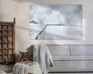 IJskoude dag op het strand van Scheveningen (Den Haag, Nederland) van Art by Jeronimo