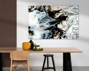 Zwart-wit en blauw schilderij von Rob Smit