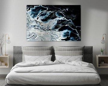 Zwart-wit en blauw details van een acryl schilderij von Rob Smit