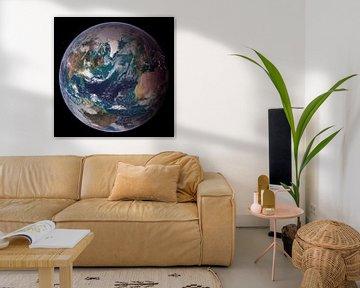 Photo de la Terre de la NASA avec l'Europe, l'Afrique et les Amériques sur Atelier Liesjes