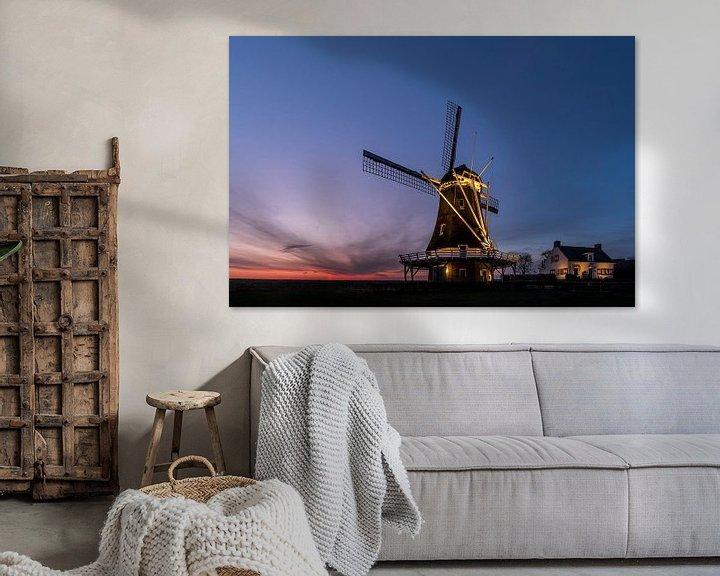 Sfeerimpressie: Molen D'Olde Zwarver net voor zonsopgang van Erik Veldkamp